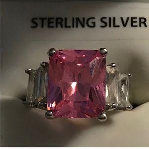 SILVER PINK TOURMALINE RING 6 1/2